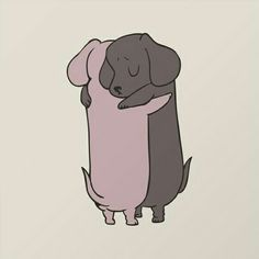Dachshund Hugs I Dachshund Gifts, Mini Dachshund, Animals And Pets, Baby Animals, Cute Animals, Cute Dogs, Cute Puppies, Kawaii Drawings, Puppy Pictures