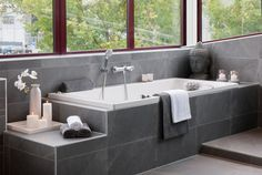Showroom Badkamer Grijs Corner Bathtub, Home Deco, Showroom, New Homes, Bathroom, Design, Decoration Home, Bath Room, New Home Essentials