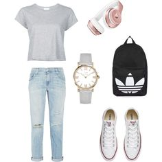 Outfit #1 by karistern on Polyvore featuring polyvore, fashion, style, RE/DONE, Current/Elliott, Converse, Topshop, Beats by Dr. Dre and clothing