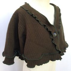 Upcycled Cloak Capelet, Wool Cape, Women's Recycled Clothing, Shawl Collar, #C138