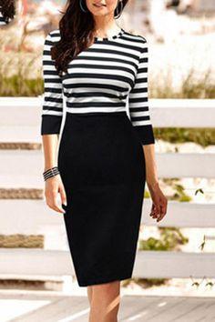 Black Striped Three Quarter Sleeved Bodycon Dress #stripes