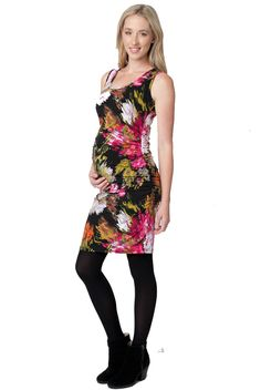 Ripe Maternity Floral Splinter Bodycon Tube Dress   Designer Maternity www.duematernity.com  Black and Pink Floral Maternity Dress for a party
