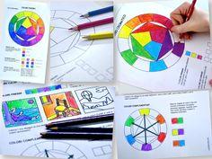 da www.arteascuola.comIl cerchio cromatico e alcuni aspetti della teoria dei colori in due schede da colorare con i pastelli. Un lavoro per i ragazzi di prima media o per i bambini della scuola primaria, per affrontare un primo approccio con la teoria dei colori.Il cerchio cromatico sulla prima sche