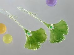 Gingko Leaves Earrings Silver and Green by SilverSquareJewelry
