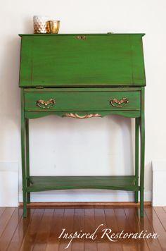 Refinished Antique Secretary Desk / Slant by InspiredRestoration, $275.00