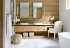 Bring Scandinavian modern to your bathroom with natural woods, trim lines, and warm textures for an inviting look reminiscent of a haute European spa. Minimalist designs are a hallmark of Nordic style—mix steel and sophisticated neutrals to add intrigue. Complete the look with a woven hamper for a touch of rustic in your perfect powder ...