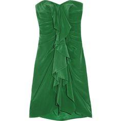 BCBGMAXAZRIA Gina ruffled silk mini dress ($180) ❤ liked on Polyvore