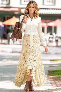 Maxi Skirt Boho, Lace Maxi, Boho Skirts, Dress Skirt, Maxi Skirts, Dress Shoes, Shoes Heels, Botines Boho, Bohemian Style