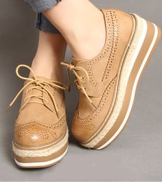 Womens Lace Up High Platform Wedge Heels Brogues Creepers Shoes Oxford Pumps Siz