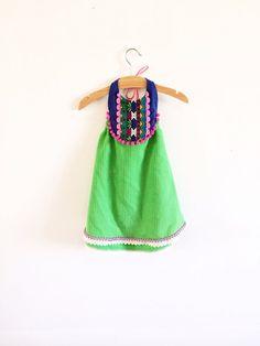 Bright festive boho halter dress by thebrassrazookids on Etsy, $48.00