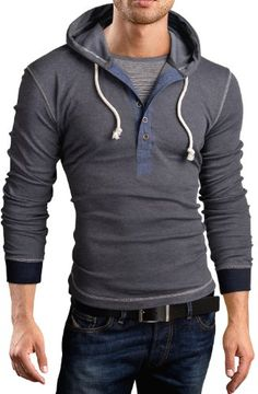 """Grin&Bear Men's Long Sleeve Hoodie 2 in 1 contrast henley, polyester BreathStretch® Fabric Grin&Bear """"Athletic Cut"""" Specifically designed to compliment an athletic figure Flatlock stitching Sweat Shirt, Dress Attire, Moda Casual, Bear Men, Gentleman Style, Pulls, Long Sleeve Shirts, Menswear, Mens Fashion"""