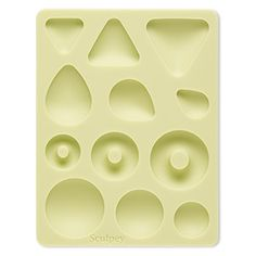 Mold, Sculpey®, silicone, green, 5x3-3/4 inches with 19x14mm-33mm assorted shape cabochon. Sold individually.