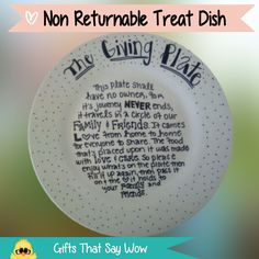 GIFTS THAT SAY WOW - Fun Crafts and Gift Ideas: Giving Plate With Poem
