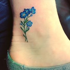 Cute forget me not ankle tattoo