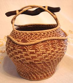 Art Expression with Pine Needles   Artistic woven baskets incorporating   ceramic, porcelain, seashells and beads by Connie Wilkinson  of Oriental, NC.
