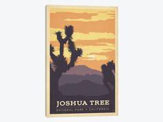 Joshua Tree Art Print, National Park Canvas Wall Print, Joshua Tree Poster, Joshua Tree California CA high Desert, Vintage Travel Gift Decor by HeySweetWallArt on Etsy https://www.etsy.com/listing/511045750/joshua-tree-art-print-national-park