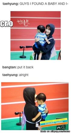 TaeTae, the baby magnet is so cute~ What if this was what actually happened in ISAC 2015? | allkpop Meme Center
