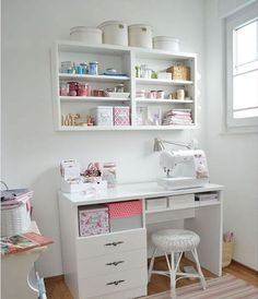 20 Most Popular Study Table Designs and Childrens Chairs Today Sewing Room Furniture, Sewing Desk, Sewing Room Storage, Sewing Spaces, Sewing Room Organization, Sewing Table, Sewing Rooms, Study Table Organization, Organizing Ideas