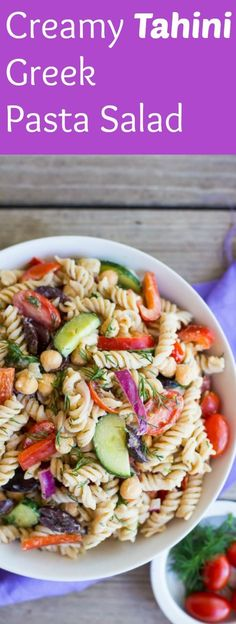 This Creamy Tahini Greek Pasta Salad is mayo free and so delicious! Perfect for your next picnic or lunch! Vegan!