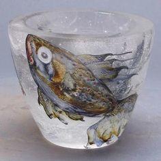 Etched and Painted Glass Vase. Art Glass Vase, Modern Art, Auction, Australian Art, Ceramics, Painting, Art, Creative Art, Glass Art