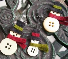 A quick little mini ornament/gift decoration.  The tallest one is about an inch high.  They go together really quickly with a few buttons, felt scraps, and craft glue.