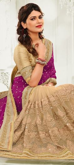 180442 Beige and Brown, Purple and Violet  color family Bridal Wedding Sarees, Party Wear Sarees in Faux Georgette, Net fabric with Patch, Stone, Zari work   with matching unstitched blouse.