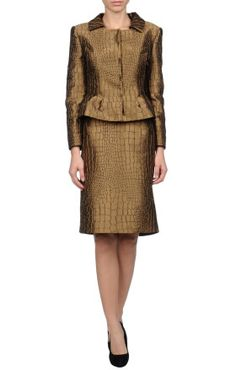 Philosophy Di Alberta Ferretti Womens Suit in Gold (Khaki)  Philosophy di Alberta Ferretti Gold Womens Suit  Lapel collar, snap button closure, single-breasted , side closure, front closure, no pockets, long sleeves, lined interior, zip closure, no appliqués, satin, jacquard, solid color, skirt. 95% polyester, 5% other fibres.