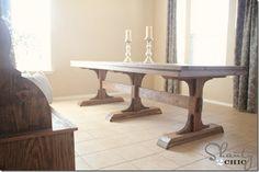 diy farm table - this looks a lot like my dining room table. Great idea.