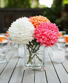 super simple...I like this centerpiece perhaps with a different flower variety