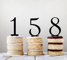 Single Digits 1-9 laser cut acrylic cake or cupcake toppers