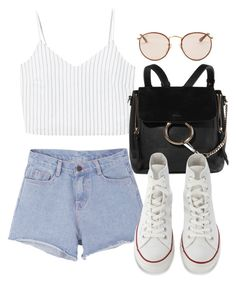 """Untitled #3547"" by camilae97 ❤ liked on Polyvore featuring Pink Stitch, MANGO, Chloé, Converse and Ray-Ban"