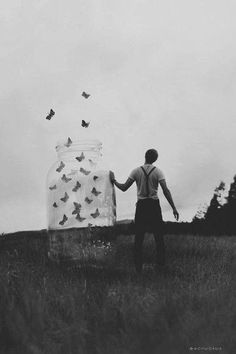 Creative photography ideas butterflies | photoshop | Black and White