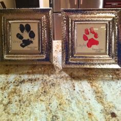 My dogs paw print on canvas paper and acrylic paint! I just wrote their name and month/year born.