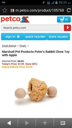 Marshall pet products Peter Rabbit chew toy with Apple