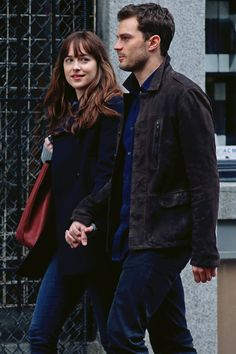 """ ""Jamie Dornan and Dakota Johnson on the set of Fifty Shades Darker, Vancouver (March, 07) "" """