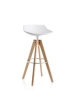 Flow stool with oak base.  Find out all the colors and finishes available. #mdfitalia #flowstool #stool #design