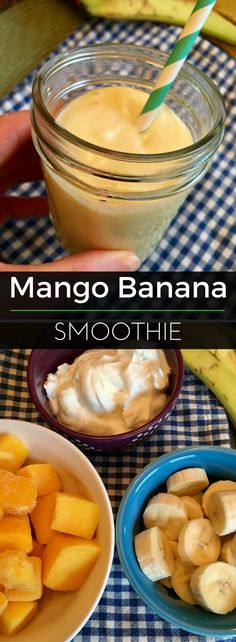 Mango Banana Smoothie - just 3 ingredients and 250 calories, but packed with 18 grams of protein! | Clearly Organic Nutritionist Corner