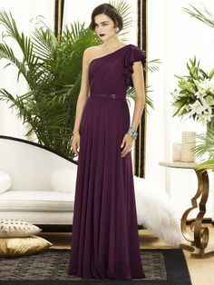One-shoulder chiffon Dessy gown in Bordeaux. Shop it at Brideside.   #wedding #bridesmaid #purple