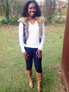 Faux Fur Vest, Leather Boots, Fall Outfit, Winter Outfit