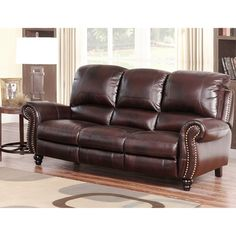 ABBYSON LIVING 'Madison' Premium Grade Leather Pushback Reclining Sofa - Reviews, Deals & Prices - 17119563
