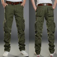Men Cotton Baggy Multi Pokect Soft Army Cargo Pants Casual Overall Straight Long Trousers Khaki Big Size 40 42 MB16261
