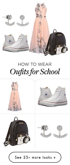 """School Outfit!!"" by imperfecthuman on Polyvore featuring WithChic, Converse, Eternally Haute and Betsey Johnson"