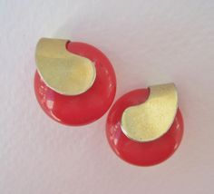Vintage 60s Retro Mod Goldtone Gold Tone Red Cabochon Goldtone Domed Button Earrings by ThePaisleyUnicorn, $4.00