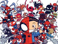 "Images for : Spider-Men and Women Assemble for Skottie Young's ""Spider-Verse"" Variants - Comic Book Resources"