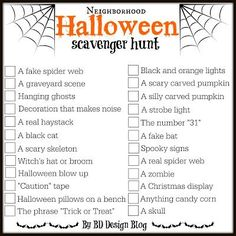 This neighborhood Halloween scavenger hunt printable is a great way for the family to get into the Halloween spirit while searching for Halloween classics. Fairy Halloween Costumes, Hallowen Costume, Halloween Party Games, Halloween Birthday, Halloween Activities, Spirit Halloween, Holidays Halloween, Halloween Treats, Halloween Diy