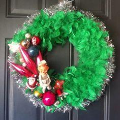 Silver Elf Vintage Ornament Wreath Mercury Glass bead Christmas Teardrop Stencil