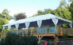 Parties | BC Tent & Awning, tent on deck, party tent, pole covers, tent, party, white tent