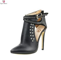 Thin High Heels Boots Black Woman shoes hot pumps stiletto.