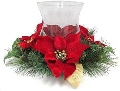 St. Nicholas Square® Christmas Poinsettia Hurricane Candle Holder Hurricane Candle Holders, Christmas Candle Holders, Christmas Poinsettia, Christmas Wreaths, Candles, Holiday Decor, Home Decor, Decoration Home, Room Decor