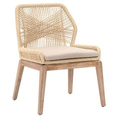 Shop the Lorry Modern Classic Beige Woven Mahogany Dining Side Chair - Set of 2 and other Dining Room Chairs at Kathy Kuo Home Dining Chair Set, Dining Room Chairs, Side Chairs, Woven Dining Chairs, Rattan Chairs, Chair Cushions, Dining Table, Desk Chairs, Folding Chairs